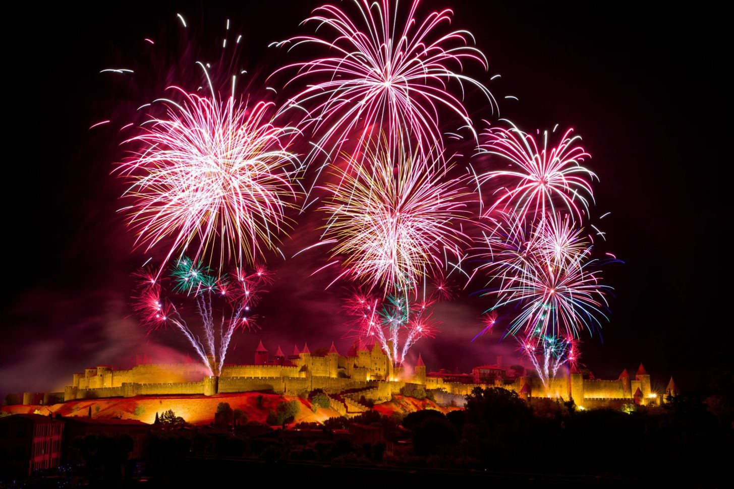 carcassonne, feu d'artifice, cité