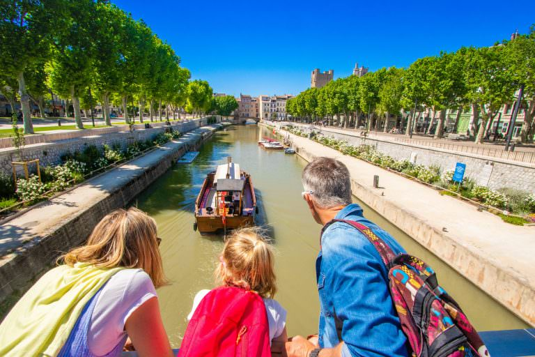 Narbonne, canal de la robine, bateau le solal, famille
