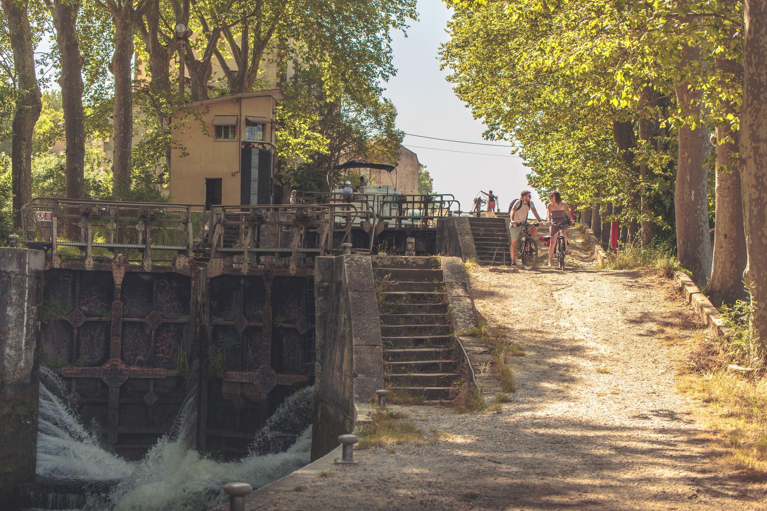 Canal du Midi, écluse de Castelnaudary
