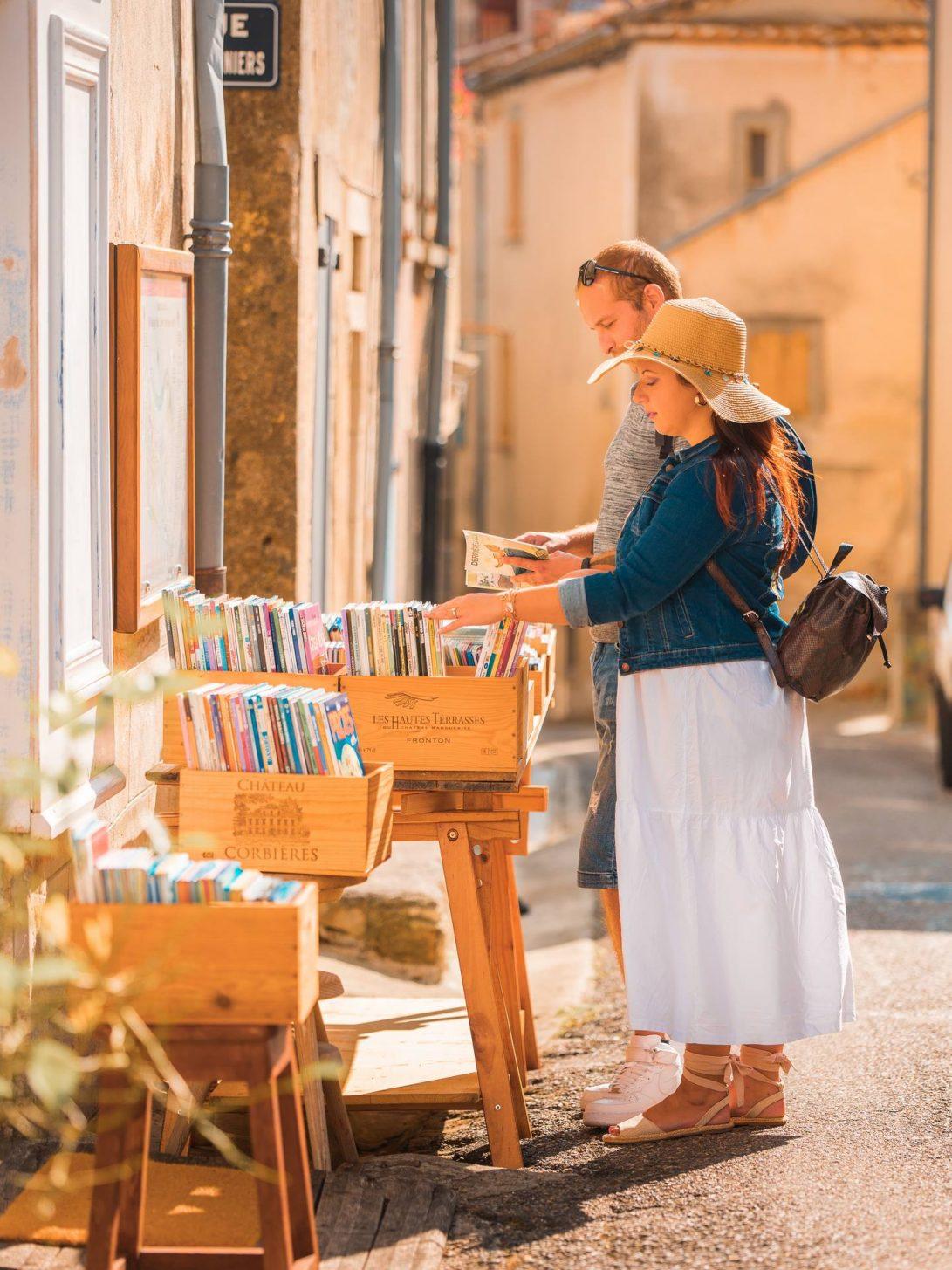 Librairie à Montolieu, village du livre © Vincent Photographie, ADT de l'Aude