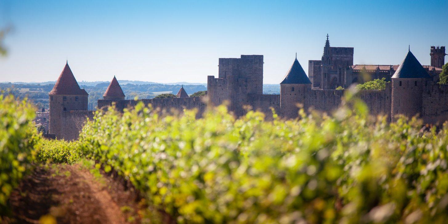 La Cité de Carcassonne, au pied des vignobles © Vincent Photographie, ADT de l'Aude