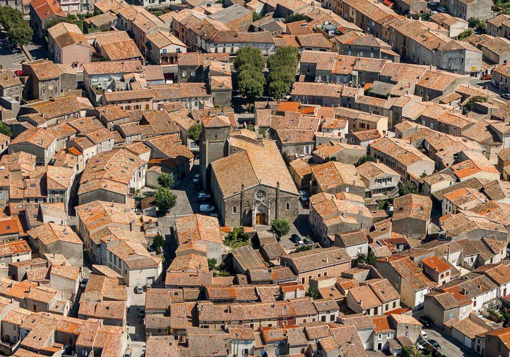 Le village de Bram vu du ciel ©Ville de Bram