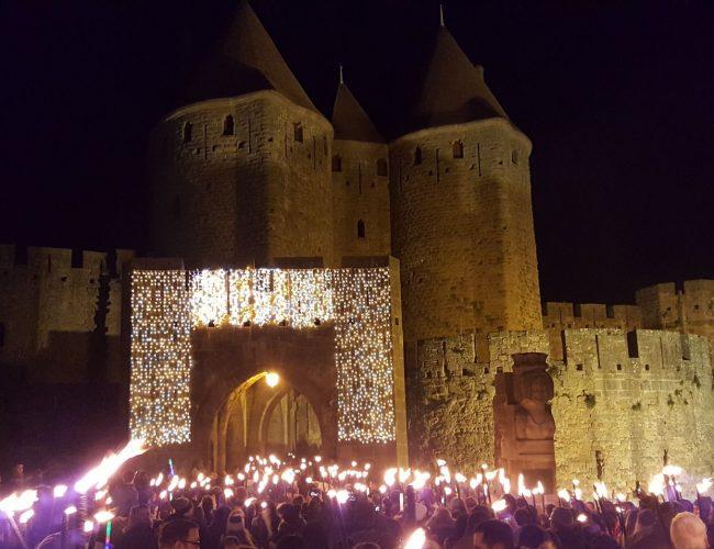 Carcassonne, la magie de Noël, descente aux flambeaux