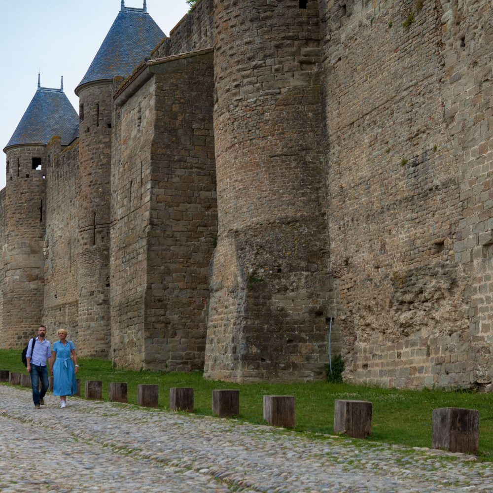Carcassonne, cité, lices, couple