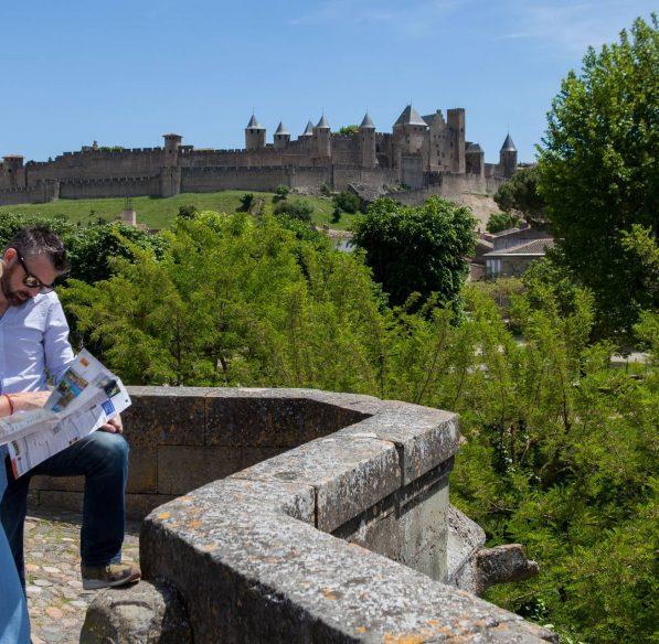 Vue sur la Cité de Carcassonne depuis le Pont Vieux ©Philippe Benoist-ADT de l'Aude
