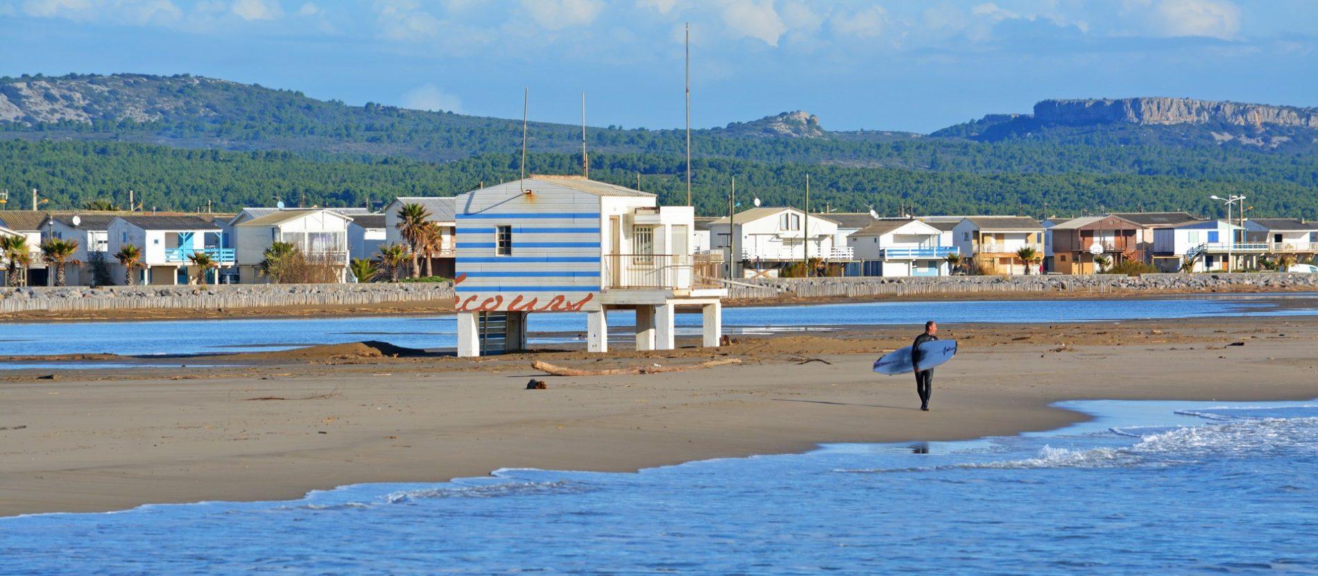 Gruissan, la plage et ses chalets © Nathalie Bois-ADT de l'Aude