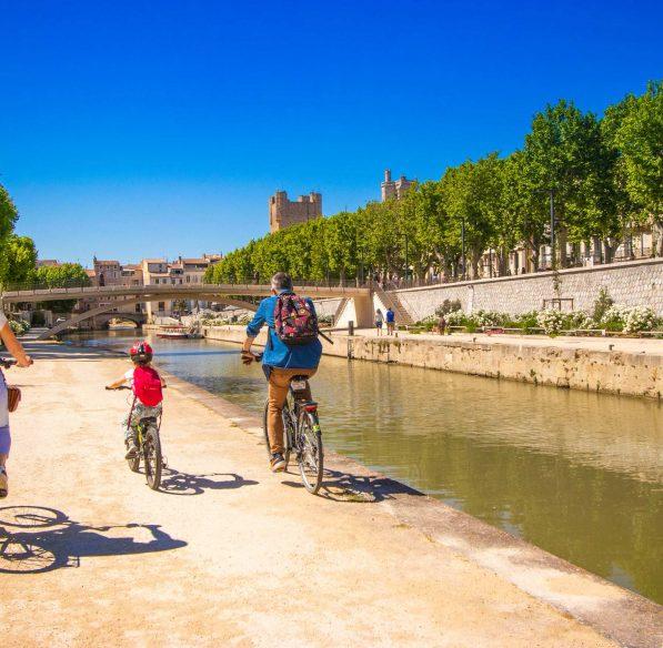 Narbonne, canal de la robine, vélo, famille